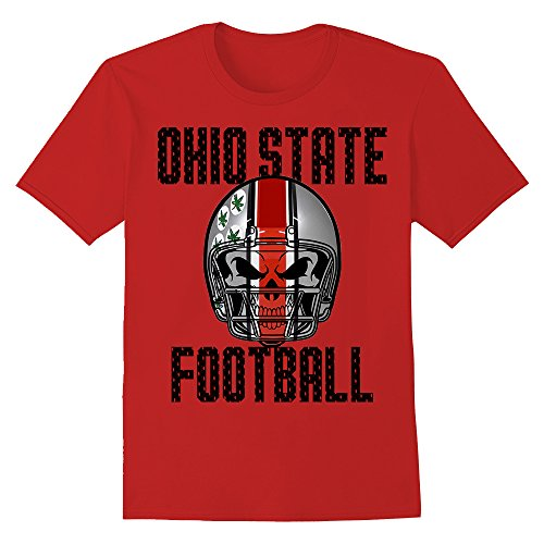 Ohio State Football Skull Helmet Graphic T-Shirt (Large, Red)