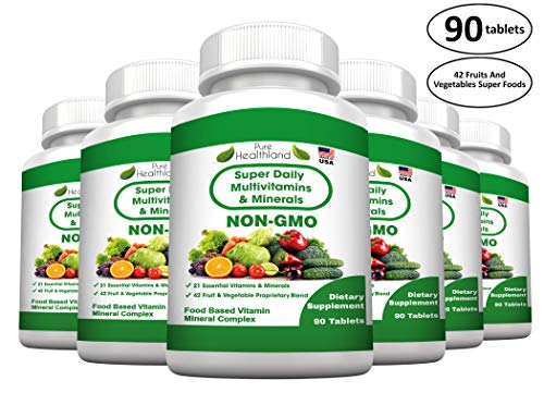 FOOD BASED Super Daily Multivitamin Supplement Tablets For Adult Men Women Seniors With 42 Natural Fruits Vegetables Blend, 21 Essential Vitamins Minerals. Boost Immune System And Energy – 6 Bottles