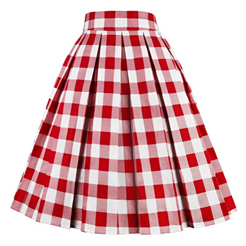 Girstunm Women's Pleated Vintage Skirt Floral Print A-line Midi Skirts with Pockets Red-White-Plaid XX-Large