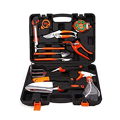 Sokey 12 Pieces Garden Tool Sets Household Tool box Hand Tool Kit with Plastic Toolbox Storage Case