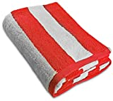 Large Beach Towel-Pool Towel- in Cabana Stripe, Red 1 Pack, 100% Cotton, 30 by 60 Inches - by Utopia Towel
