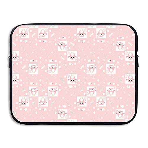 Pink Owls And Little Birds On Cute Floral Backdrop Girlish Pattern With Swirls Laptop Bag Tablet Case Shockproof Spill-Resistant Waterproof 13 Inch
