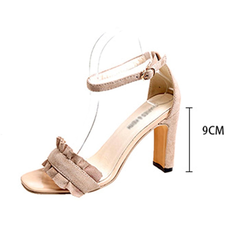 cy Frau Sommer Schnalle Sandalen Frauen High Heels Casual Ferse Schuhe Peep-Toe Fisch-Hals Schuhe Leichte Rutschfeste...