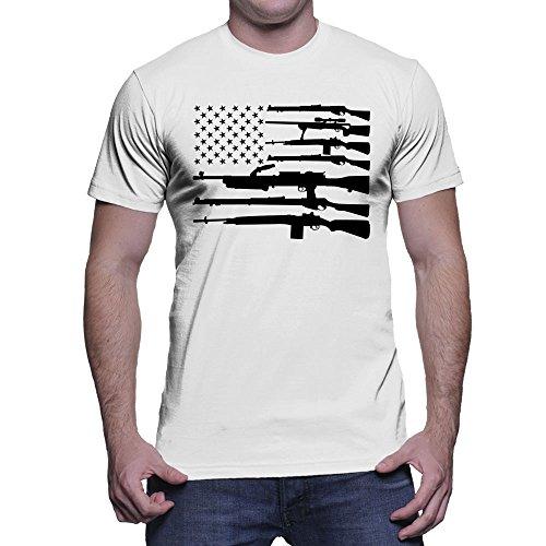HAASE UNLIMITED Men's Black Gun American Flag T-Shirt (White, Large)