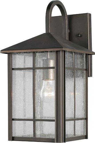 Lantern Bronze Royal (Forte Lighting 1062-01-14  Exterior Wall Light with Clear Seeded Glass  Shades, Royal Bronze)