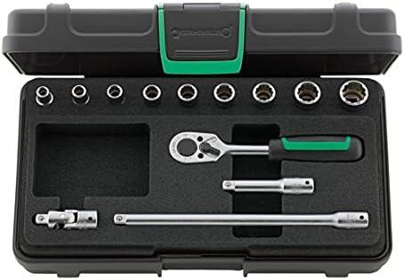 Stahlwille 96016302 Steckschlüsselgarnitur 13-teilig im robusten, stapelbaren ABS-Kunststoffkasten