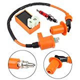 #4: Podoy GY6 CDI Ignition Coil Racing with Spark Plug for 50cc 125cc 150cc Performance ATV 4-stroke Engines Go Kart Moped Quad Pit Dirt Bike Scooter Parts 6 Pin CDI Upgrade