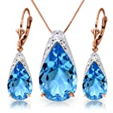 """14k 18"""" Rose Gold Blue Topaz Drop Necklace and Earrings Set"""