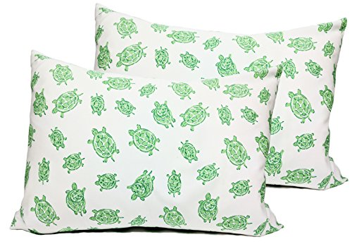 2 Toddler or Travel Pillowcases in Organic Cotton to Fit 13 x 18 and 14 x 19 Pillow, Turtle Print (Green)