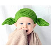 Milk protein cotton yarn handmade Star Wars baby Yoda hat Green Goblin hat with ears - Multiple Sizes available