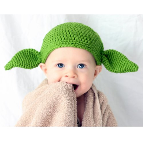 Milk protein cotton yarn handmade baby Yoda hat - fits 1 to 3 year old (Yoda Hat)