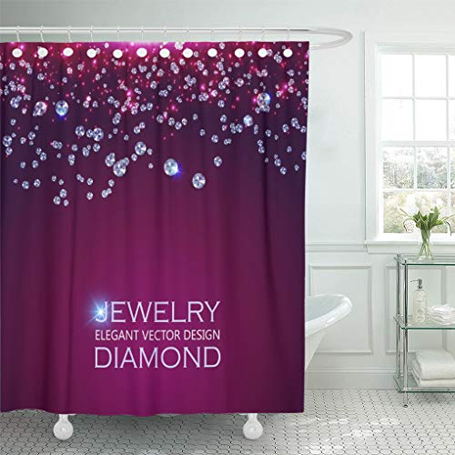 Emvency Shower Curtain Gemstone Blue Jewelry Falling Gems Abstract Amethyst White Diamond Shower Curtains Sets with Hooks 60 x 72 Inches Waterproof Polyester Fabric
