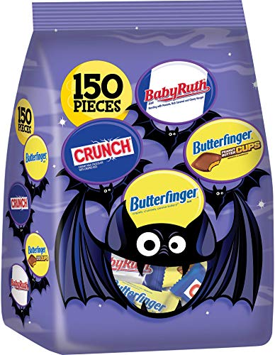 Nestle Assorted Bulk Chocolate Halloween Candy Bag, Fun Size Mix of Butterfinger, Cups, Crunch, & Baby Ruth, 64 Oz