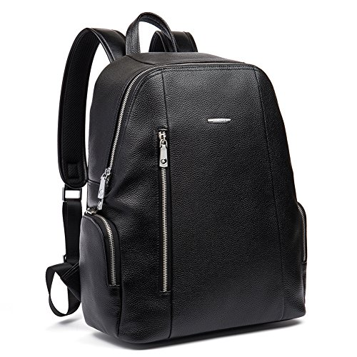 BOSTANTEN Leather Backpack Laptop Travel Camping Shoulder Bag Gym Sports Bags for Men Black