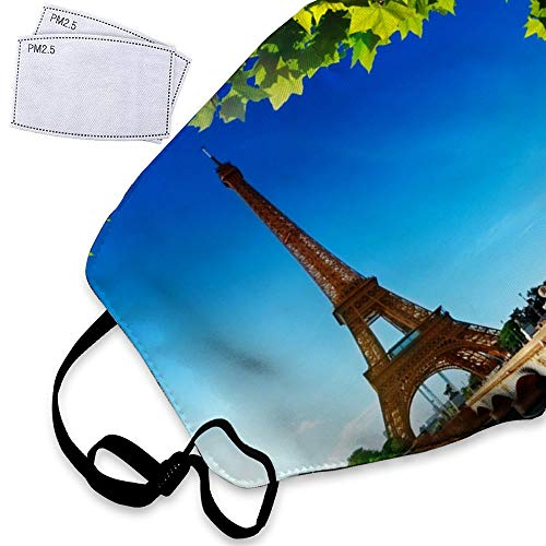 Eiffel Tower Under Blue Sky - Paris France Dust Mask Reusable Washable Breathable Anti Pollution Mask with PM 2.5 Activated Carbon Filter Insert Mouth Cover Mask Face Safety Masks For -