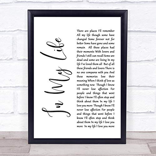 Life in My Life White Script Song Lyric Quote Print (Beatles Poster Card)