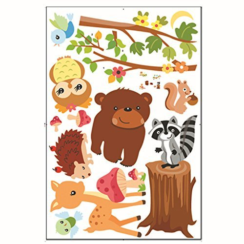 Ivenf Animals in the Woods Cartoon Wall Decal, Bears Birds D