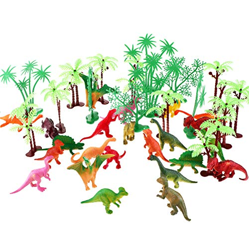 Jovitec 42 Pieces Mini Dinosaur Cupcake Topper Decoration, Include Assorted Dinosaur Figures and Mini Palm Tree for Birthday Party Dinosaur Theme Party