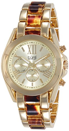 Burgi Women's BUR094YG Yellow Gold Quartz Watch with Champagne Dial and Yellow Gold And Tortoise Bracelet