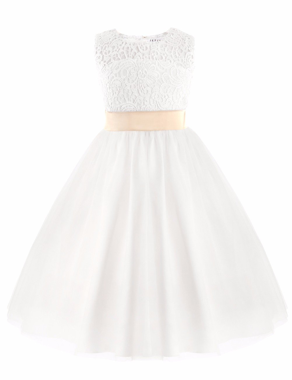 iEFiEL Vestido Blanco de Princesa Fiesta Ceremonia Boda Vestido Floreado Bautizo para Niña (2-