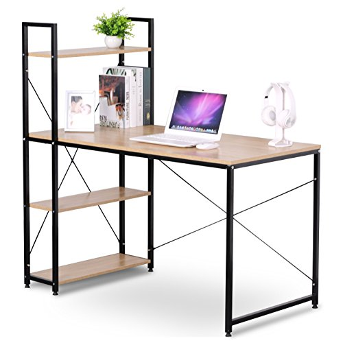 woltu business desk top computer gaming station computer desk for home use with 4 tier bookshelves