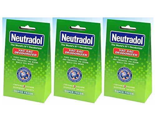 3 x Packs Of 3 Neutradol Super Fresh Vacuum Sac Hoover Deodorizer Sachet Freshen