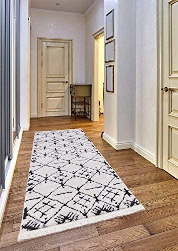 Mod-Arte Fez Collection Area Rug Moroccan Inspired Style White Charcoal 2 3 x 7 2