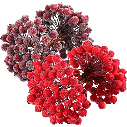 BBTO 100 Wired Stems of Artificial Holly Berries Artificial Flower Decor 200 Pack 12 mm Mini Christmas Frosted Fruit Berry (Red and Dark Red)