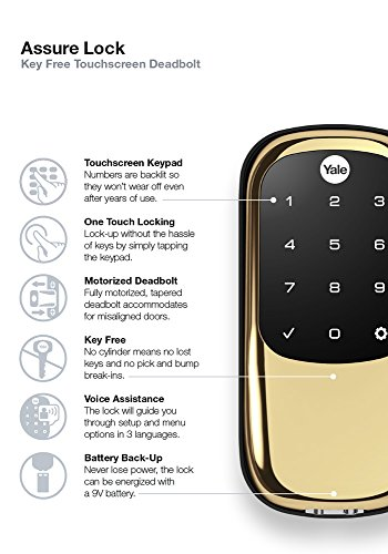 Yale Real Living Key Free Touchscreen Z Wave Smart Deadbolt