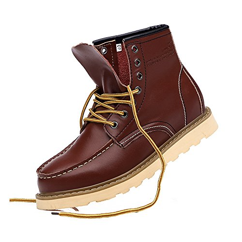 Ankle Fashion Men's Style Street fur Burgundy Lined Fur Jamron Synthetic Platform Boots Available Leather Rtq0Hdw