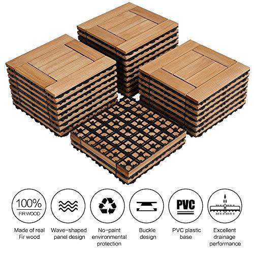 Yaheetech 27PCS Deck Tiles Interlocking Wood Composite ...