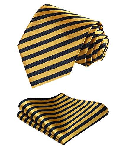 Enmain Stripe Jacquard Woven Men's Wedding Silk Tie Pocket Square Necktie Set ()