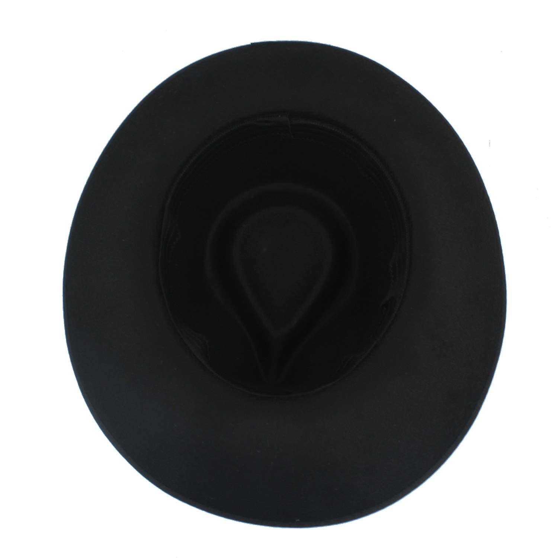 DOSOMI Fashion Men Felt Fedora Hats with Wide Brim Jazz hat Gentleman Godfather Hat Punk Belt