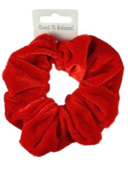 Pair of Coloured Velvet Feel Medium Hair Scrunchies Bobbles Hair Bands Elastics