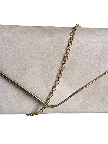 Beige Ladies Evening Shoulder Wedding Bag Faux Taupe Suede Prom Nude Handbag Envelope Clutch Bag Bag rxBwqrY8
