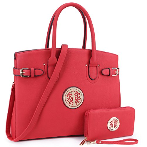 DASEIN Women Purses and Handbags Shoulder Bags Ladies Tote Bags Satchel with Wallet (01- Red)