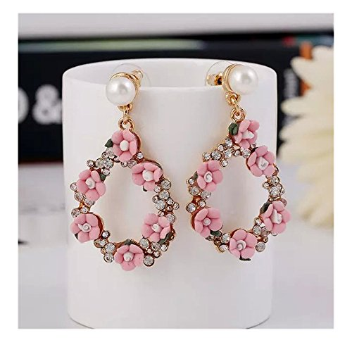 - CHUYUN Boho Hollow Round Shape Pink Flower Dangle Earrings Personality Engraved Lake Blue Flowers Beaded Earrings for Women (Pink)