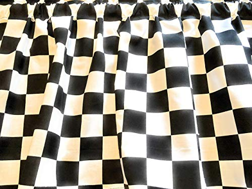Black White Checkered Flag Tiers or Curtain Panels 43W x 24L or Choose 36L, 45L, 54L, 64L or 84L ()