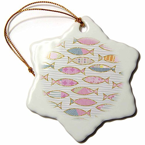 Christmas Ornament Andrea Haase Animals Illustration - Lovely fish allover design patchwork style - Snowflake Porcelain Ornament -
