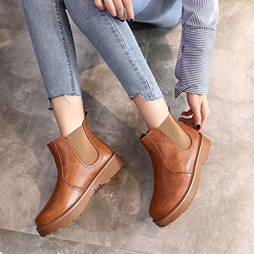 Paolian scarpe pelle Donne Marrone stivaletti solidi in piatte colori rotonde scarpe a Martain Donna Stivali stivali fqPTf4