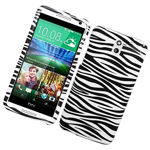 Insten Zebra Rubberized Hard Snap-in Case Cover Compatible with HTC Desire 610/612 Verizon, White/Black