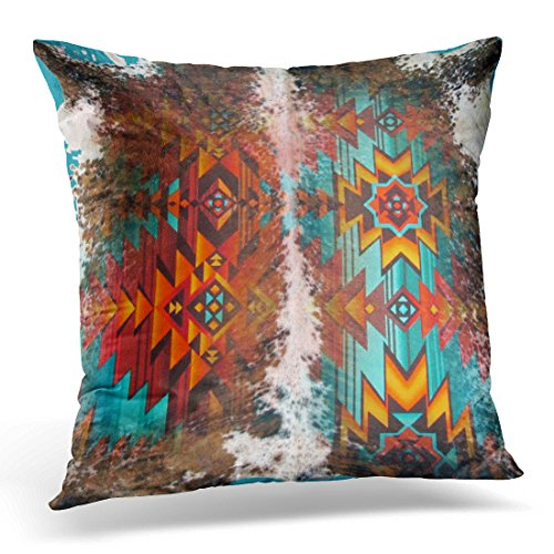 VANMI Throw Pillow Cover Western Tribal Blue Brown Orange Cowhide Leather Southwest Decorative Pillow Case Home Decor Square 20x20 Inches Pillowcase (Covers Couch Western)