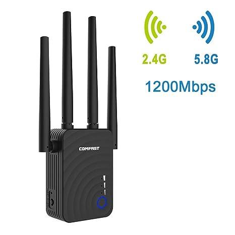 Amplificador de Rango Mini WiFi de 300 Mbps Repetidor inalámbrico Potencia de señal de Internet con 2 Puertos Ethernet/indicador LED Inteligente para ...