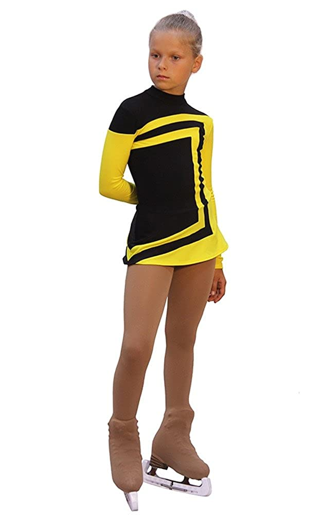 Avangard IceDress Figure Skating Dress Black with Yellow
