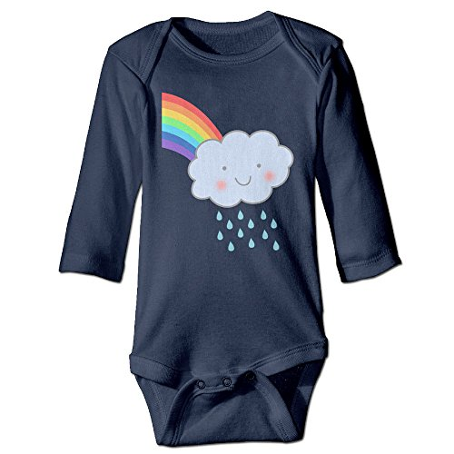 LALayton Cute Rain Cloud Rainbow Original For Climbing Clothes Infant Rompers Navy