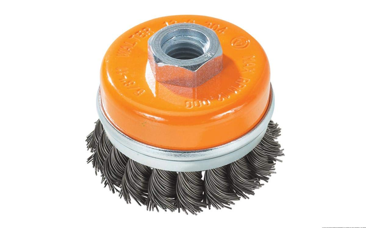 Walter 13G604 Knot Twisted Wire Cup Brush - 6 in. Carbon Steel Brush with Supporting Ring. Finishing Tools and Accessories