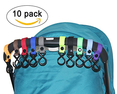 HIG Stroller Hook - 10 Pack of Multi Purpose Hooks - Hanger for Baby Diaper Bags, Groceries, Clothing, Purse (10 Pcs) - Purpose Mighty Cart