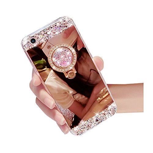 iPhone 8 Case Bling,Shinetop Luxury 3D Diamond Glitter Crystal Rhinestone Soft TPU Rubber Gel Bumper Mirror Makeup Case Protective Cover with 360 Degree Ring Stand Holder for iPhone 8 (2017)-Rose Gold