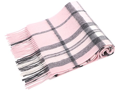 Simplicity 63.5 x 11.5 100% Cashmere Scarf w/ Gift Box, Pink/Grey Plaid