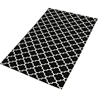TreeWool Decorative Mat Area Rug Trellis Accent 100% Cotton (27 x 45 Inches, Black/Natural)